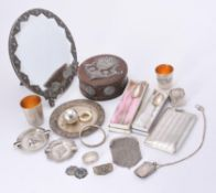 Y A collection of silver, silver coloured and white metal items