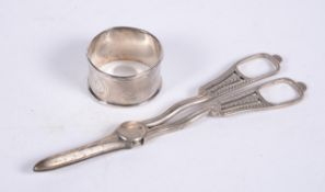 An Edwardian pair of silver grape scissors by George Unite