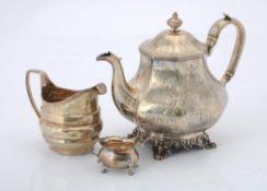 Y A Victorian silver octagonal baluster tea pot