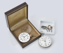 Two pocket watch movements and dials