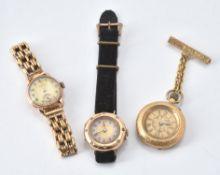 A lady's gold coloured and diamond set wrist watch