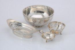 A silver circular bowl by Mappin & Webb