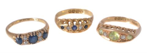 A late Victorian five stone sapphire and diamond ring