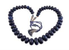 A facetted sapphire bead necklace