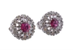 A pair of ruby and diamond cluster ear studs