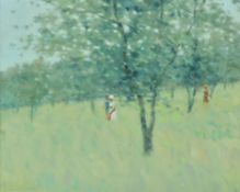 André Gisson (American 1921-2003) , Summer (Meadow Landscape with Figures)