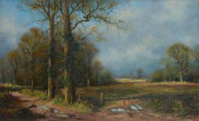 λ John Trickett (British b. 1953), Forest landscape with church beyond