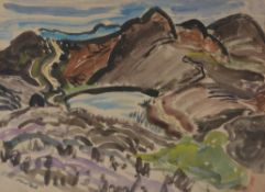 λ Attributed to Nano Reid (Irish 1905-1981), Landscape with hills