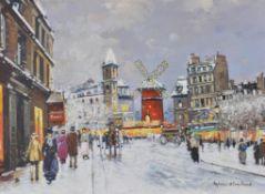 λ Antoine Blanchard (French 1910-1988) A winter's day at the Moulin Rouge, Paris