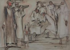 Ragheb Ayad (Egyptian 1892-1982), Unloading the cart
