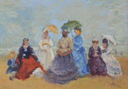 λ Matt Bruce (British 1915-2000) , Ladies at the beach
