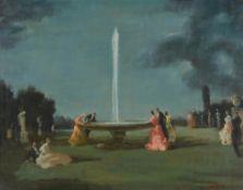 λ Raoul Millais (British 1901-1999), Figures by a fountain in a park