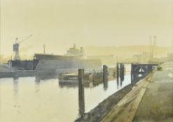 λ Peter Kelly (British 1931-2019) , Morning Mist, Rouen Docks