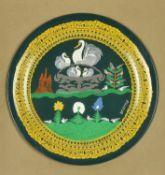 λ Scottie Wilson (British 1888-1972), Swans, birds and flowers