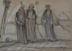 Ragheb Ayad (Egyptian 1892-1982), Three holy men in a landscape