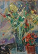 λ Kostas Loustas (Greek 1933-2014) , Still life with flowers