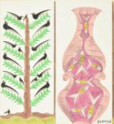 λ Scottie Wilson (Scottish 1889-1972), Birds in a tree and fish in a vase