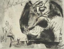 λ Marc Chagall (French 1887-1985), Pliouchkine offre a boire, from Les Ames Mortes (Cramer Books 17