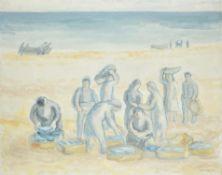 λ Manuel Colmeiro (Spanish1901-1999)Fisherfolk unloading the catch