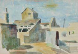 λ Elwin Hawthorne (British 1905-1954) , Old Buildings at Shoreham, Sussex