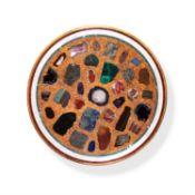 Y A circular Italian specimen marble and scagliola table top