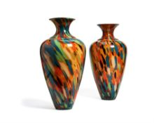 A large pair of multi-coloured Italian glass vases