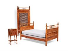 A harlequin suite of French simulated bamboo bedroom furniture