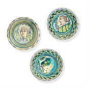 Three large Talavera pottery dishes