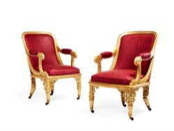 A pair of Gothic Revival cream painted salon chairs