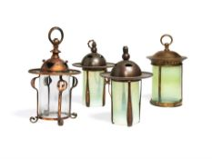 Four various Arts and Crafts copper and glazed hanging lanterns