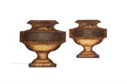 A pair of English or French toleware wall mounts