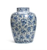 A large Delft blue and white vase