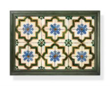 A group of twenty four Cuenca tiles