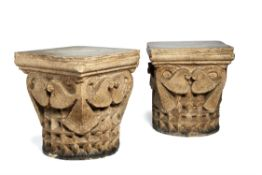 A pair of Continental, probably French, plaster models of column capitals