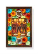 A Swiss stained and leaded glass figural panel