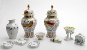 20th century Continental porcelain- including Herend vases