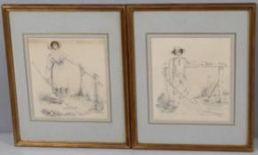 J Burwood (19th Century), Pair of figural watercolours