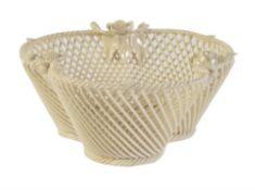 A Belleek porcelain 1st period three-strand Shamrock basket