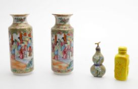 Two similar Chinese famille rose vases and two scent bottles