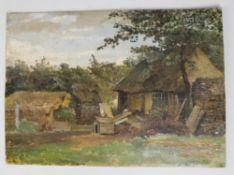 C J De V (20th century Continental School), The Farmyard