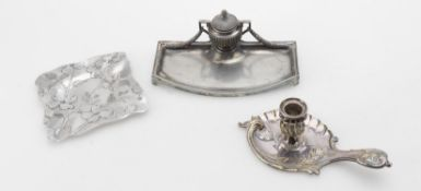Metalware including a Christofle silver plated chamberstick