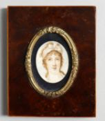 Y Assorted portrait miniatures including a 19th century miniature of a young woma