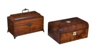 Y A George III mahogany and chequer strung tea caddy