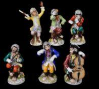 """Six late Dresden """"Monkey Band"""" figures"""
