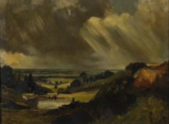 Late 19th century English School- Landscape with storm clouds