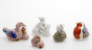 Porcelain animalier figures to include Herend twin duck group