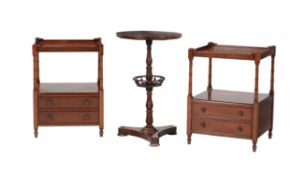 Decorative furniture including a pair of mahogany bedside tables