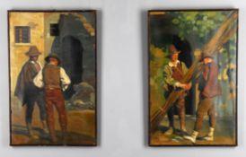 λ Giorgio Matteo Aicardi (Italian 1891-1984), Pair of street scenes