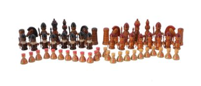 A Russian marquetry chess table and pieces