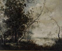 Follower of Corot, River landscape